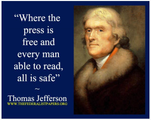Thomas Jefferson Poster, Freedom of the Press, letter to Charles ...