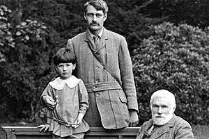 Trevelyan in 1910 with his eldest son, Theo, and father, Sir G. O ...