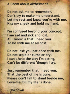 Alzheimer's Poem: Hospice Nursing, Poems I Reading, Alzheimers Poems I ...