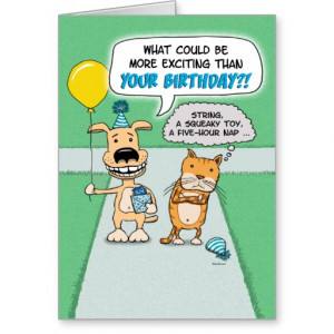 Funny birthday card: Happy Dog and Grumpy Cat
