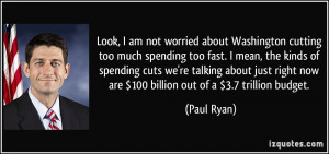 Look, I am not worried about Washington cutting too much spending too ...