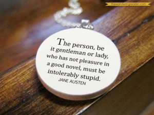 Funny Jane Austen Literary Quote Necklace