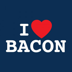 LOVE BACON FUNNY T-SHIRT(WHITE INK)