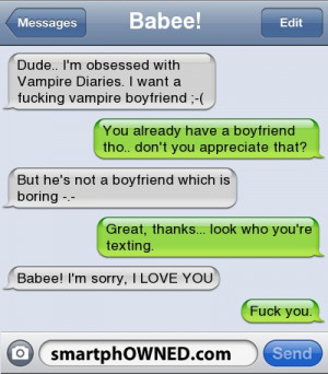 Babee!Dude.. I'm obsessed with Vampire Diaries. I want a fucking ...