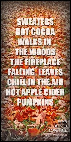 It doesnt need to be fall for me to walk in the woods. But the weather ...