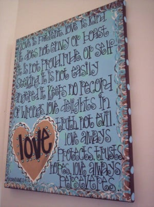 Love is Patient...Whimsical and Fun Hand Painted Canvas Wall ART ...