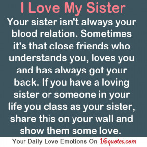sister love quote quotes I Love My Sister Quotes And Sayings