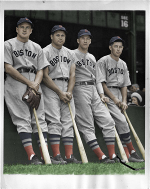 1938 Red Sox All Stars, (L to R) Joe Cronin, Jimmie Foxx, Lefty Grove ...