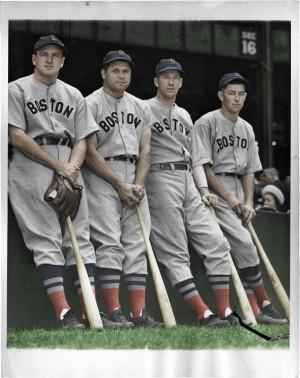 1938 Red Sox All Stars, (L to R) Joe Cronin, Jimmie Foxx, Lefty Grove ...