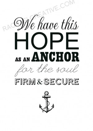 Anchor Print Hope Quote Typography Scripture Art. $20.00, via Etsy.