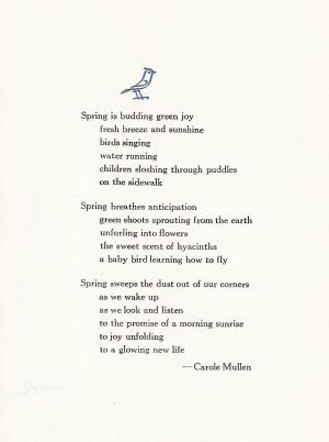 12 1 Spring Poem Short Spring Poems