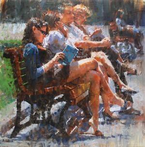 Mark Lague park bench reading