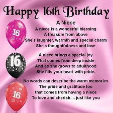 Personalised Coaster - Niece Poem - 16th Birthday Design + FREE GIFT ...