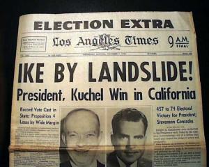 ... EISENHOWER Ike Presidential Election WIN in 1956 Old Newspaper