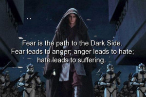 Movie star wars quotes and sayings fear anger hate suffer