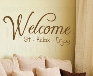 Wall-Sticker-Decal-Quote-Vinyl-Art-Adhesive-Graphic-Welcome-Sit-Relax ...