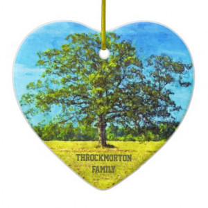 Colorful Oak Tree Painting Family Quote Ornament