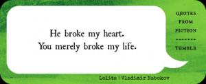 "He broke my heart. You merely broke my life."" Lolita (Vladimir ..."