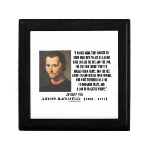 Machiavelli Prince Imitate Fox Lion Advice Quote Trinket Box