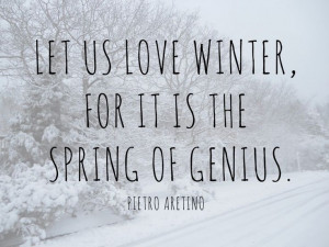 ... us love the winter, for it is the spring of genious. - Pietro Aretino