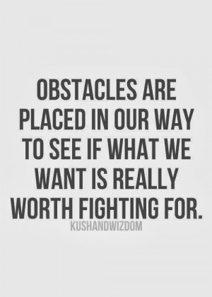 ... placed in our way to see if what we want is really worth fighting for