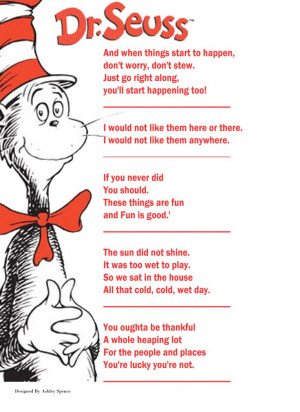 game #3 Dr. Seuss book quotes, Name the book that goes with the quote ...