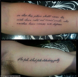 His 'n' hers tattoos! Liam Hemsworth copies Miley Cyrus and has a line ...