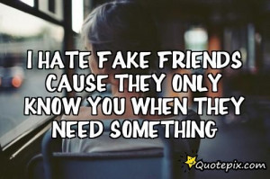 Hate Fake Friends Cause They Only Know You When They Need Something