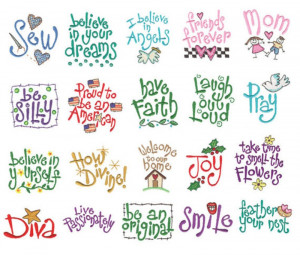 Embroidery Sayings Machine Embroidery Designs Set of 20