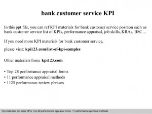 Bank customer service kpi