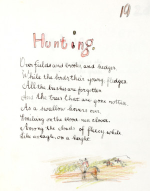 Hunting', in 'The Poems', 1897. From MS Add. 9852.