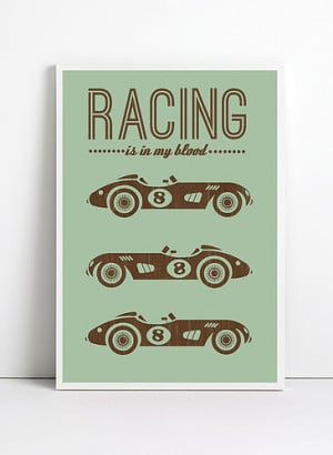 inspirational quote print poster, a3, racing print poster, retro ...