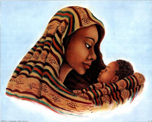 black mother and child