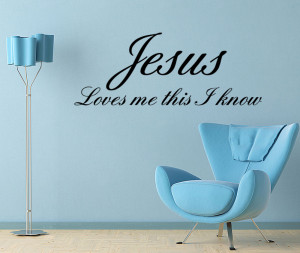 Details about Jesus Loves Me Baby Room Nursery Vinyl Wall quote Decal ...