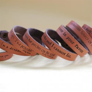 Bookish quotes on leather bracelets