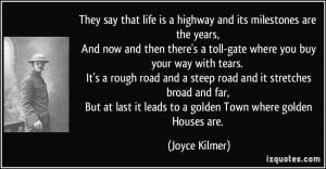 They say that life is a highway and its milestones are the years, And ...