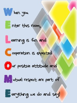 Acrostic Poem Welcome Sign for classroom