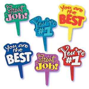 Colorful Graduation Sayings Cupcake Picks