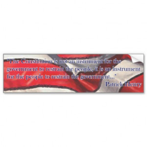 Constitution Quote by Patrick Henry - Flag Car Bumper Sticker