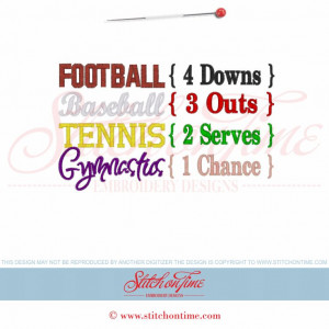 6092 Sayings : Football Baseball Tennis Gymnastics 5x7