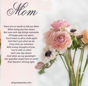 In Loving Memory Cards For Mom – There Are No Words To Tell You Mom