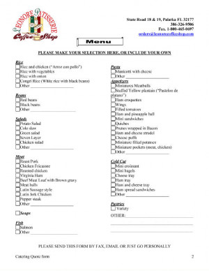 Catering quote form