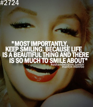 beautiful, keep smiling, life, marilyn monroe, quote, text