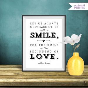 Mother Teresa Quote Print, Printable art wall decor, Inspirational ...