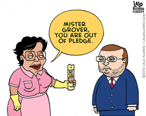 Consuela: 'Mr. Grover Norquist, you are out of Pledge' (toon)