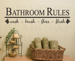Details about Wall Decal Sticker Quote Vinyl Art Bathroom Rules Wash ...