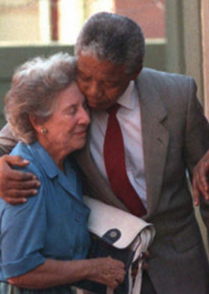 Helen Suzman gets a hug from recently released ANC leader Nelson ...