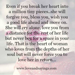 That is the heart of woman who loves from the depths of her soul
