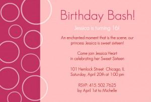 Pink Bubbles Sweet Sixteen Birthday Invitations