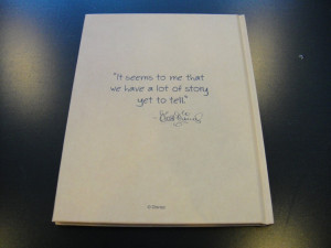 The back of the note book displays one of Walt Disney's quotes.